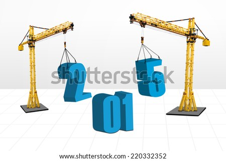 Build the future concept with two cranes arrange number 2015, isolated over white background