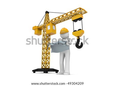 Builder and crane (3d isolated on white background characters series) - stock photo