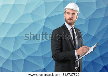 Builder, architector, CEO - stock photo