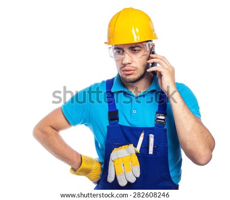 Builder - construction worker on phone, isolated on white background