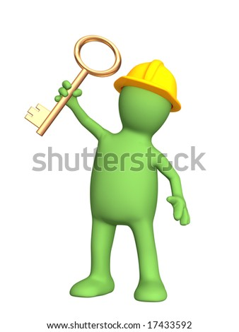 Builder, holding in hand a gold key - stock photo