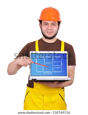 builder holding laptop with apartment plan - stock photo