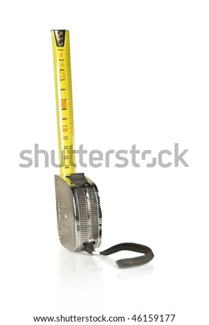 Builder's measuring tape isolated on white background - stock photo