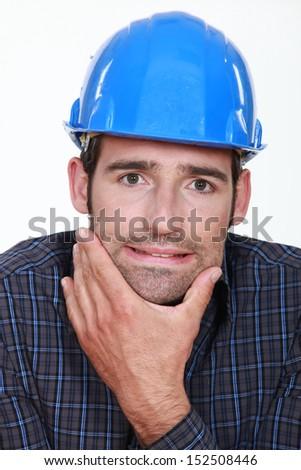 Builder thinking - stock photo