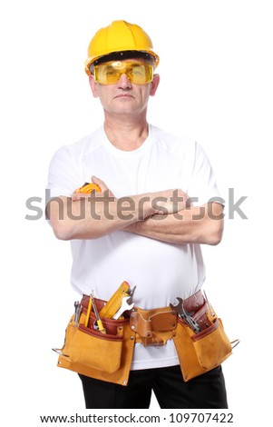 builder with belt construction and glasses isolated on white - stock photo