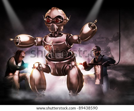Builders working on robot - stock photo