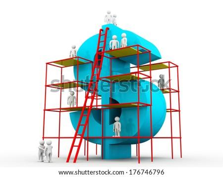 Building a big dollar. Money making concept  - stock photo