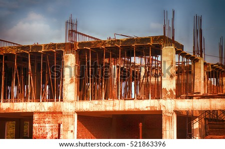 building a house in Asia. construction site in a tropical region