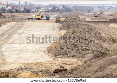 Building a new road - shaping a ground - stock photo