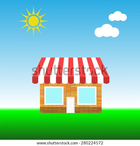 Building a Small Shop on Blue Sky Background - stock photo