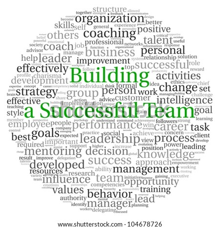 Building a Successful Team concept in word tag cloud on white background - stock photo