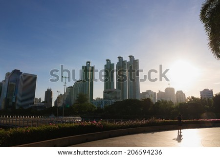 Building and blue sky with light  sunbeams in bangkok,Thailand