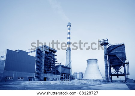 building and mechanical equipment in a paper mill factory in China - stock photo