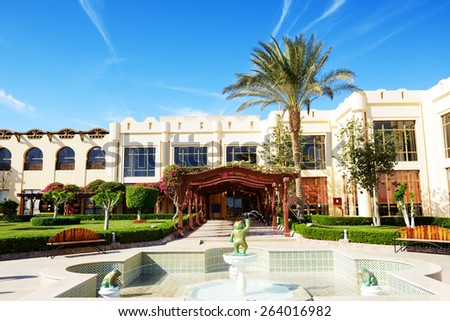 Building and recreation area of the luxury hotel, Sharm el Sheikh, Egypt - stock photo
