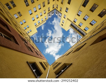 Building and sky - stock photo
