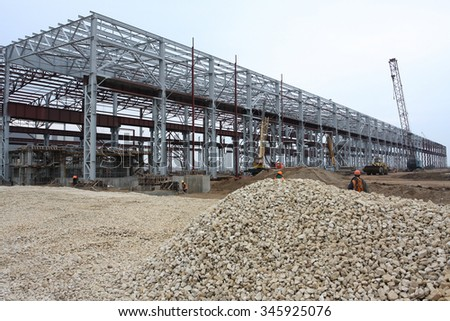 Building area of metallurgy plant. Steel-melting shop.