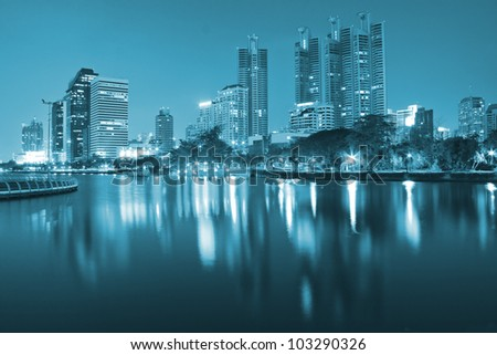 Building at night with lights. - stock photo