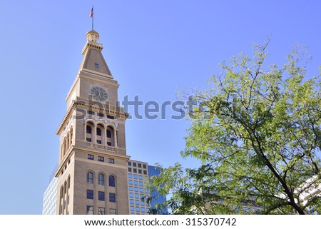 Building at 16th Street considered as the main street in Denver, Colorado, US - stock photo
