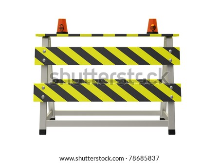 Building barrier on a white background - stock photo