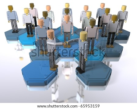 Building block figures in a team shaking hands - stock photo