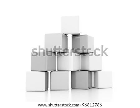 building block silver white - stock photo