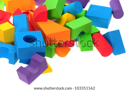 building blocks on white background