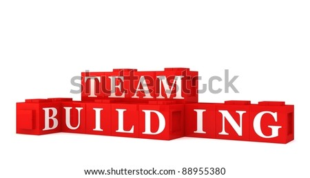 Building blocks spelling out TEAM BUILDING - stock photo