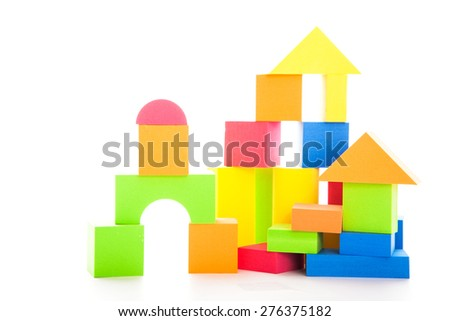 Building blocks toy isolated on the white background