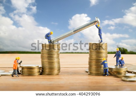 Building Business team increase your growth budget for investment in the future.  - stock photo