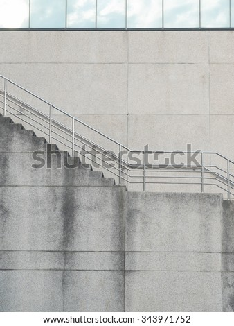Building company perspective and stairs with copy space close up - stock photo