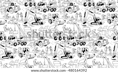 Building construction workers landscape black seamless pattern. Monochrome illustration.