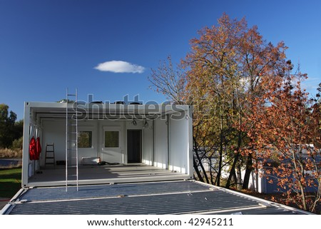 building containers on the block - stock photo