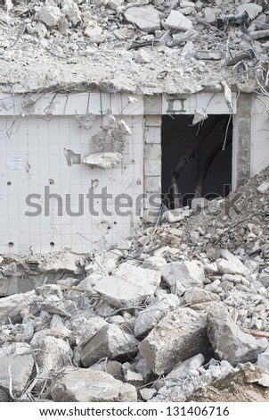 Building Demolition as Sign of Urban Renewal - stock photo