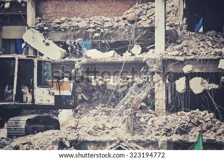 Building demolition debris - stock photo