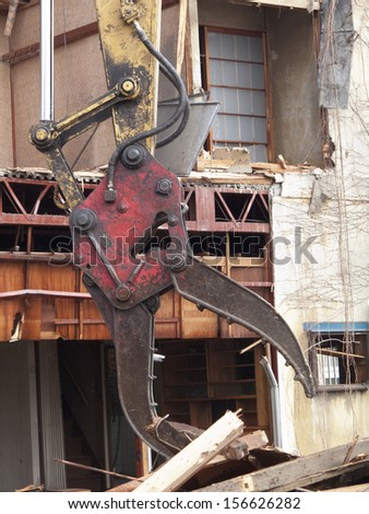Building demolition site - stock photo