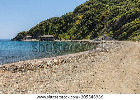 Building details on road by the sea on Holy Mount Athos - stock photo