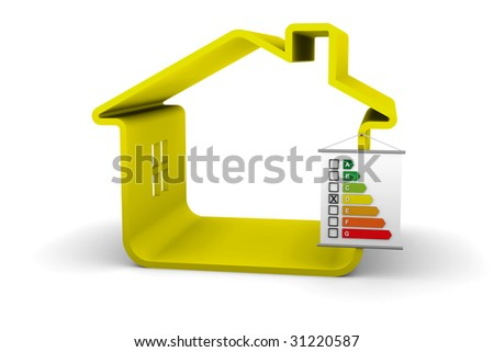 Building Energy Performance D Classification - stock photo