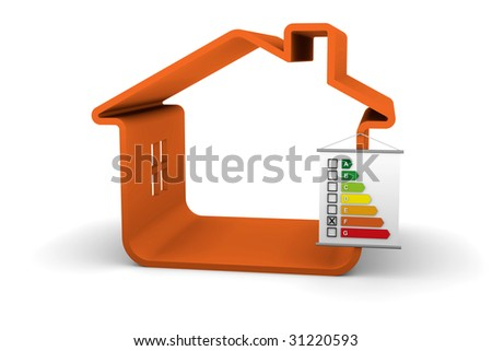Building Energy Performance F Classification - stock photo