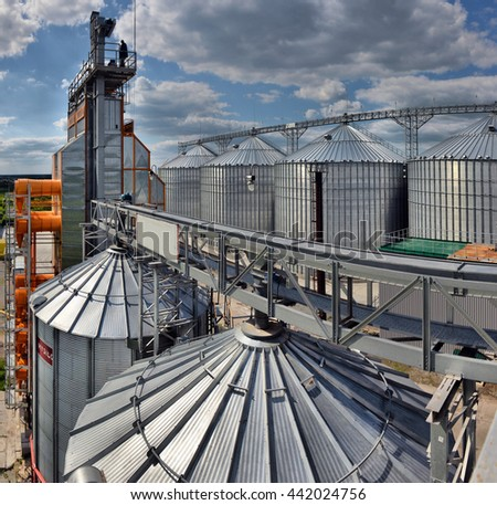 Building Exterior, Storage and drying of grains, wheat, corn, soy, sunflower - stock photo