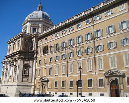 Building Facade Architecture Of Medieval Old Ancient Style Traditional European Italian Apartment In Rome Italy