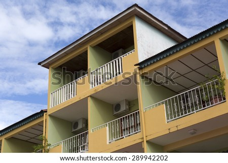 building facade detail in the city of Flores in Guatemala - stock photo