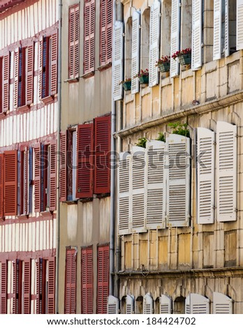 Building facade in Bayonne, French Basque country - stock photo