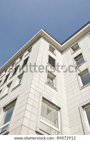 Building facades with windows