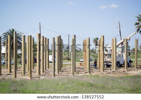 building foundation of beachfront house