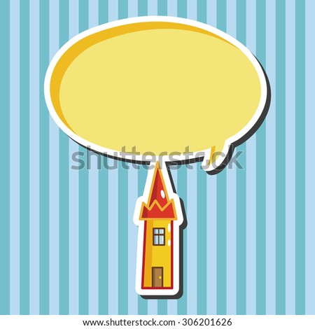 Building house tower, cartoon speech icon