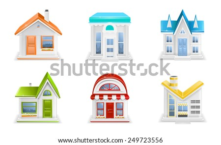 Building icons illustration - stock photo