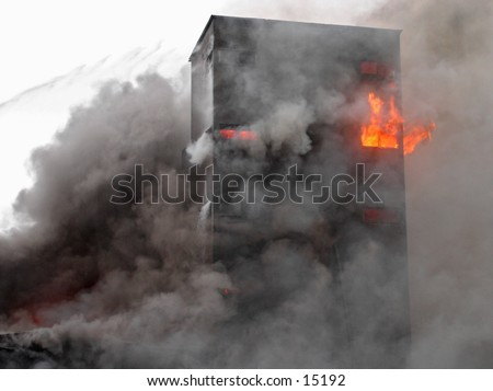 Building in flames - stock photo