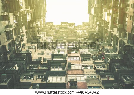 building in Hongkong. vintage style - stock photo