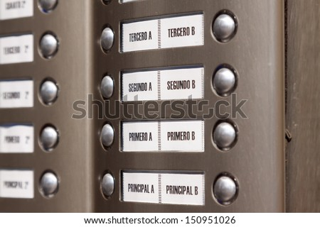 building intercom. Apartment numbers in Spanish - stock photo