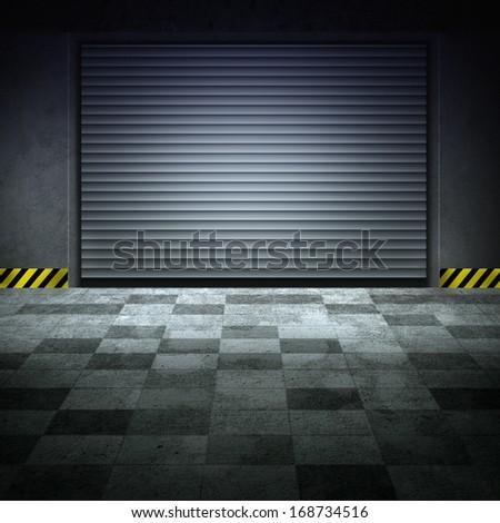 Building made of concrete with roller shutter door. Grunge garage. Checked floor. - stock photo